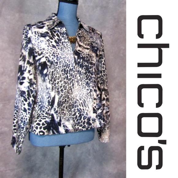 6d4aacb13b28 Chico's Jackets & Coats   Chicos Sz 0 S Blue Leopard Print Zip Front ...